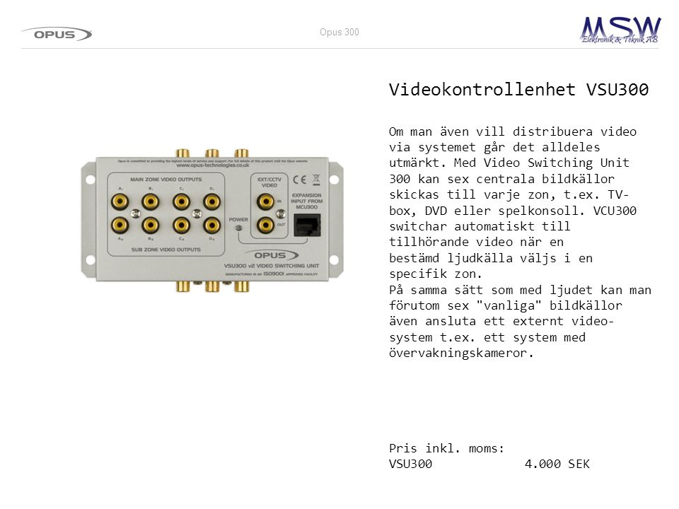 Videokontrollenhet VSU300