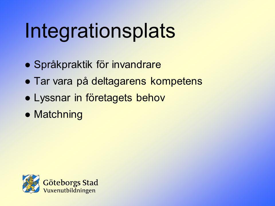 Integrationsplats ● Språkpraktik för invandrare ● Tar vara på deltagarens kompetens ● Lyssnar in företagets behov ● Matchning.