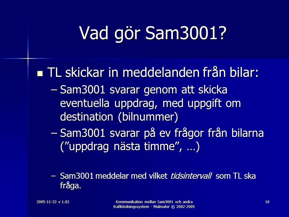 Vad gör Sam3001 TL skickar in meddelanden från bilar: