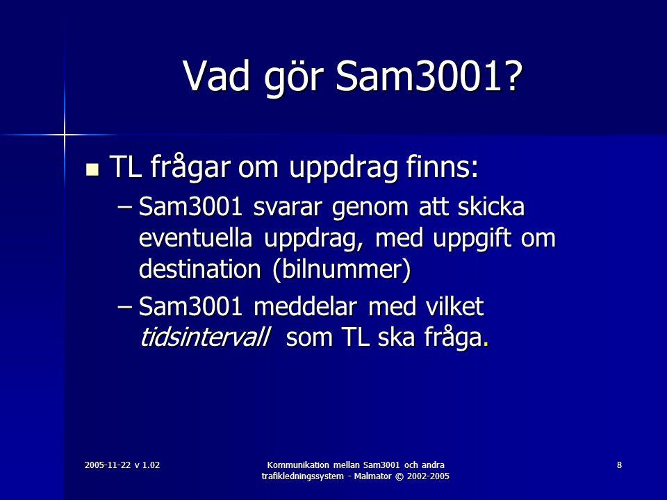 Vad gör Sam3001 TL frågar om uppdrag finns: