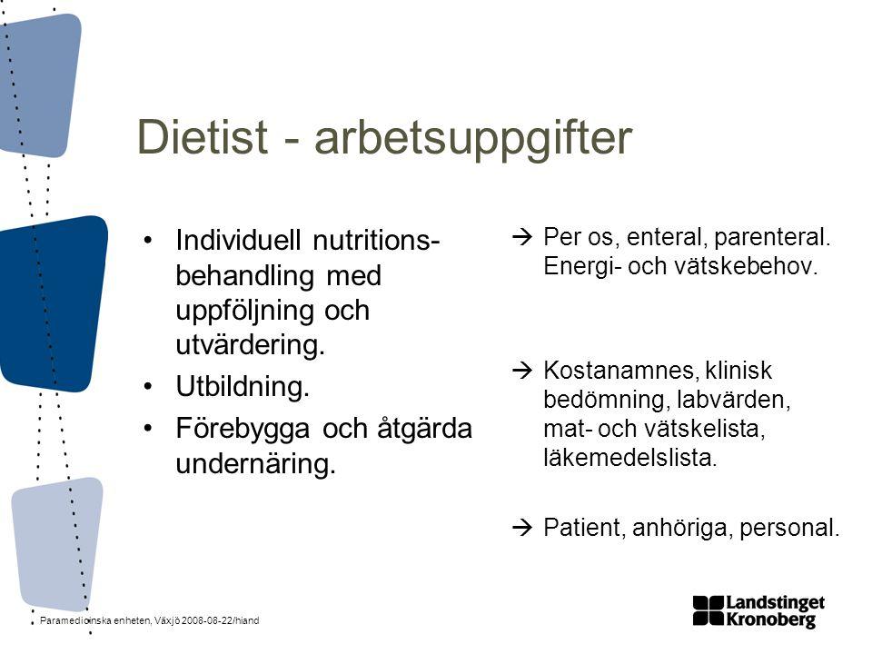 Dietist - arbetsuppgifter