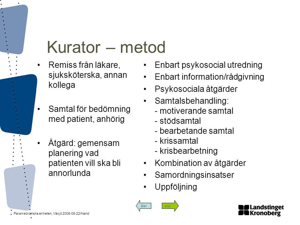 Kurator – metod Remiss från läkare, sjuksköterska, annan kollega