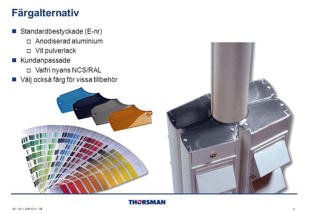 Färgalternativ Standardbestyckade (E-nr) Anodiserad aluminium