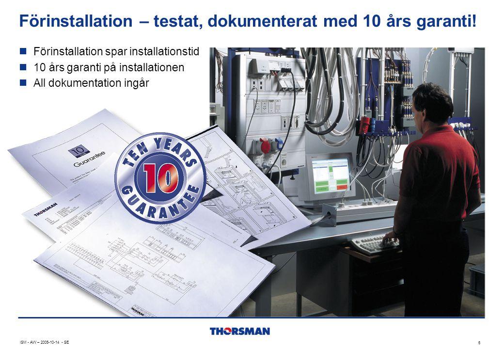 Förinstallation – testat, dokumenterat med 10 års garanti!