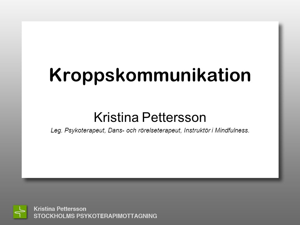 Kroppskommunikation Kristina Pettersson