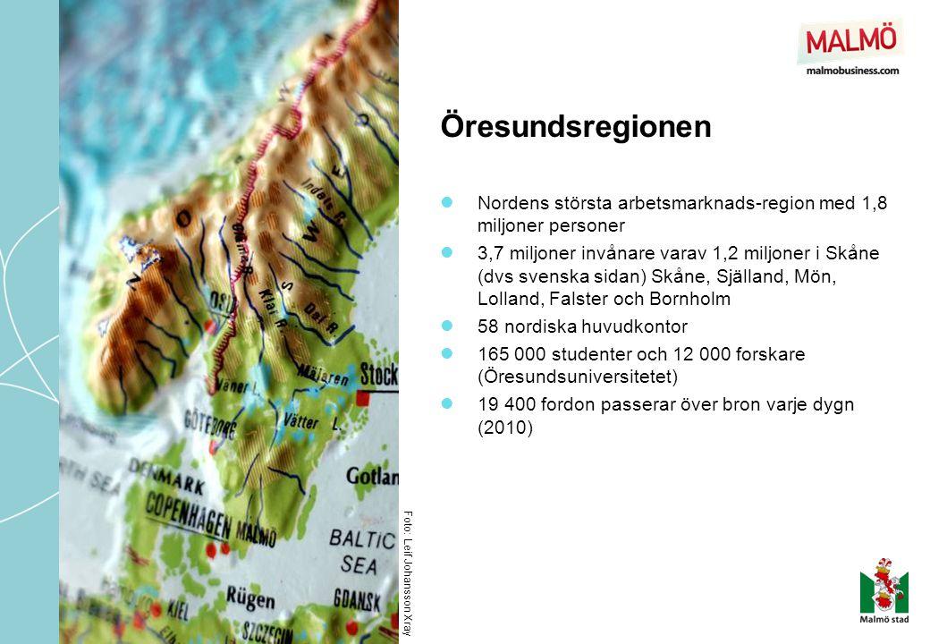 Öresundsregionen Nordens största arbetsmarknads-region med 1,8 miljoner personer.