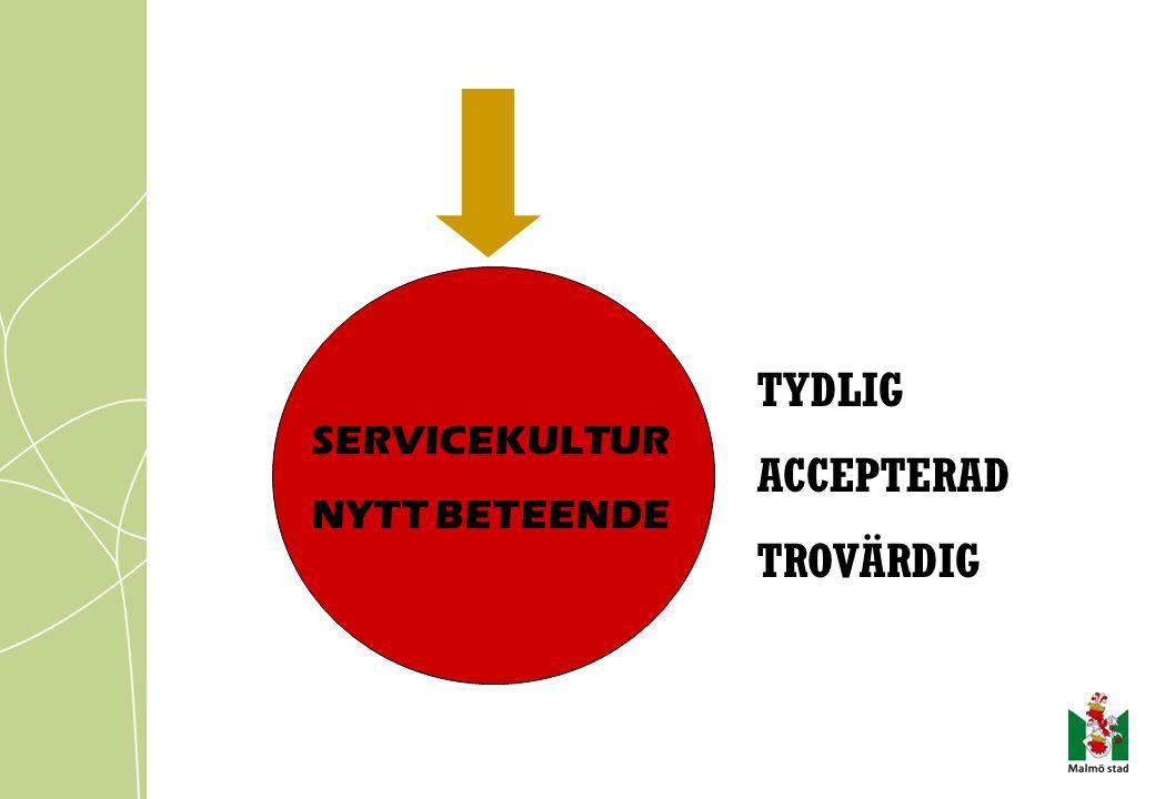 TYDLIG ACCEPTERAD TROVÄRDIG SERVICEKULTUR NYTT BETEENDE