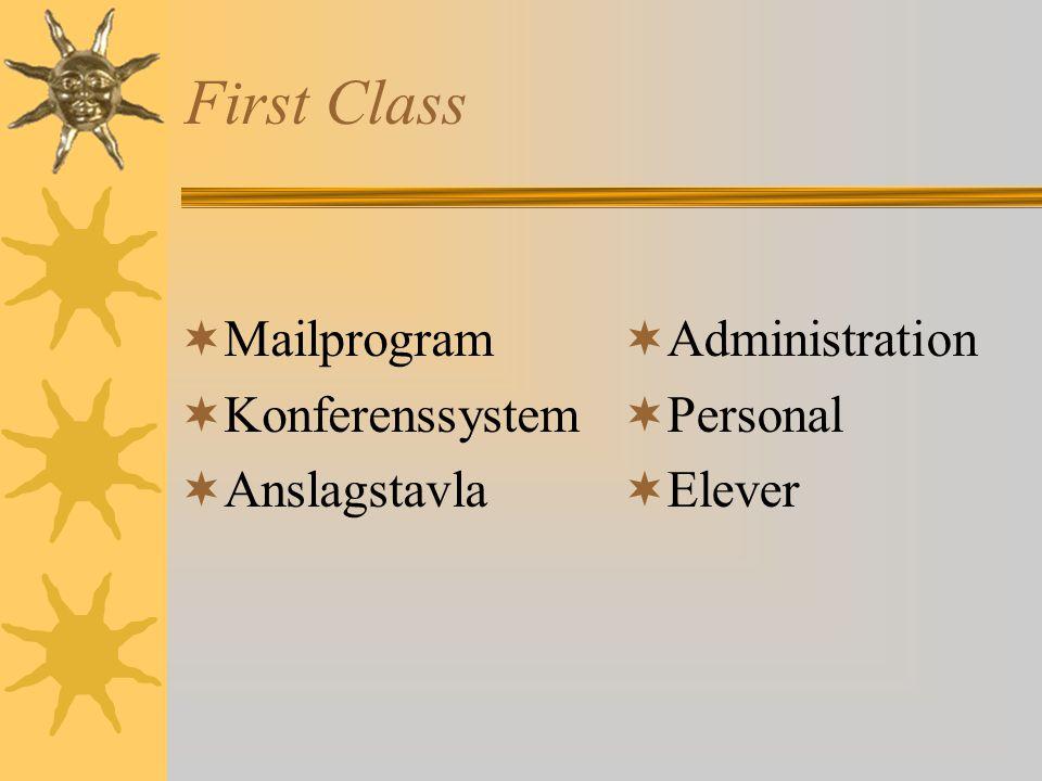 First Class Mailprogram Konferenssystem Anslagstavla Administration
