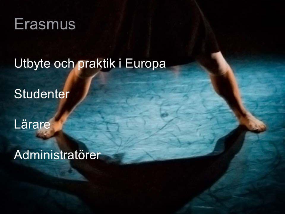 Erasmus Utbyte och praktik i Europa Studenter Lärare Administratörer