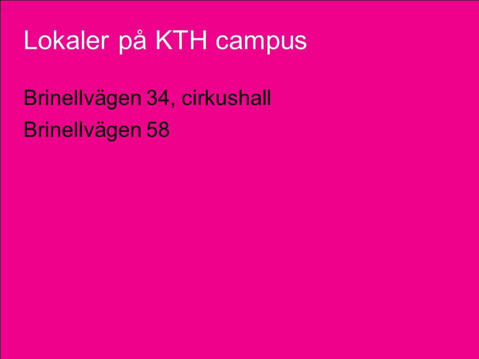 Lokaler på KTH campus Brinellvägen 34, cirkushall Brinellvägen 58