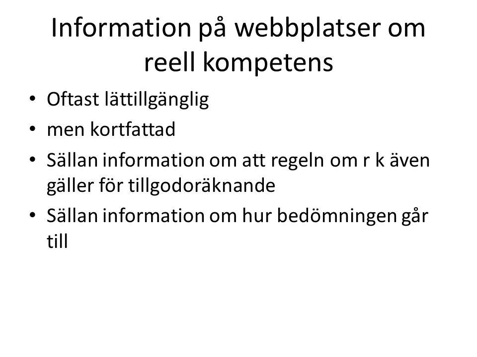 Information på webbplatser om reell kompetens