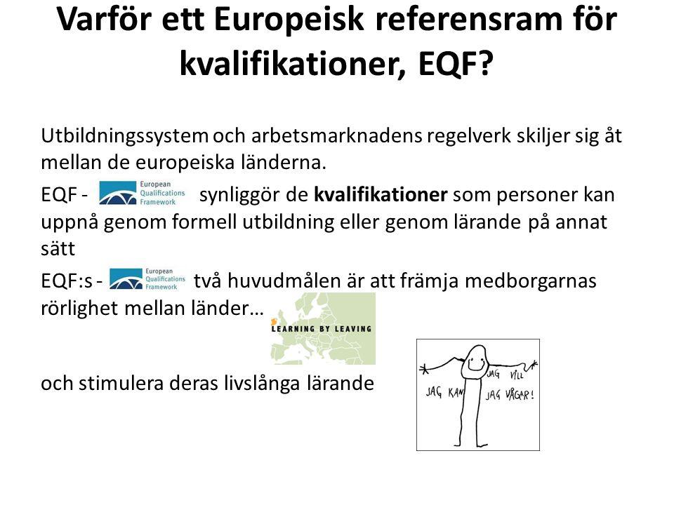 Varför ett Europeisk referensram för kvalifikationer, EQF