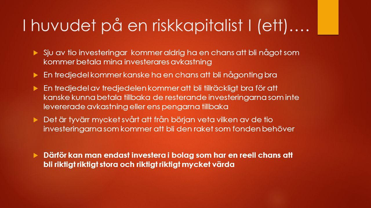 I huvudet på en riskkapitalist I (ett)….