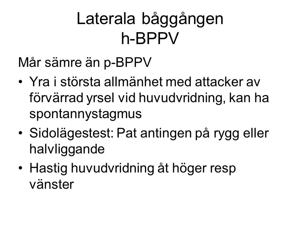 Laterala båggången h-BPPV