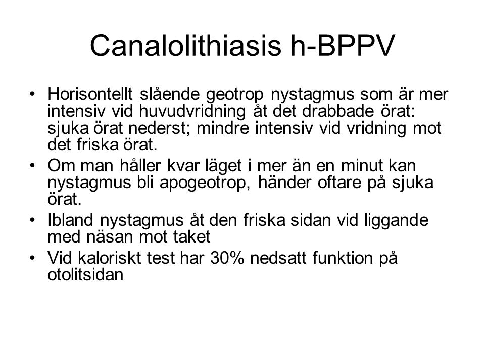 Canalolithiasis h-BPPV