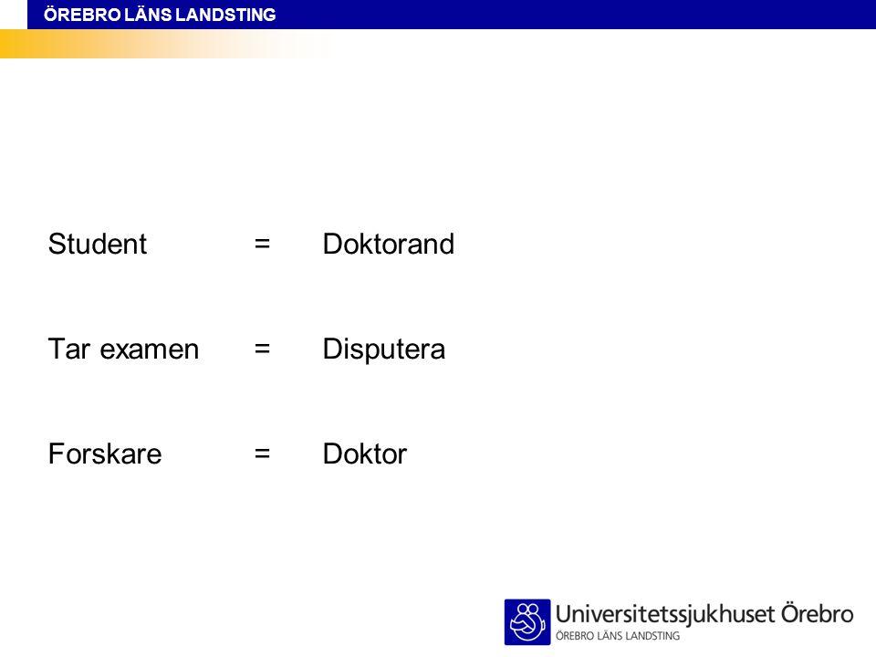 Student = Doktorand Tar examen = Disputera Forskare = Doktor