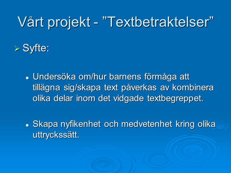 Vårt projekt - Textbetraktelser