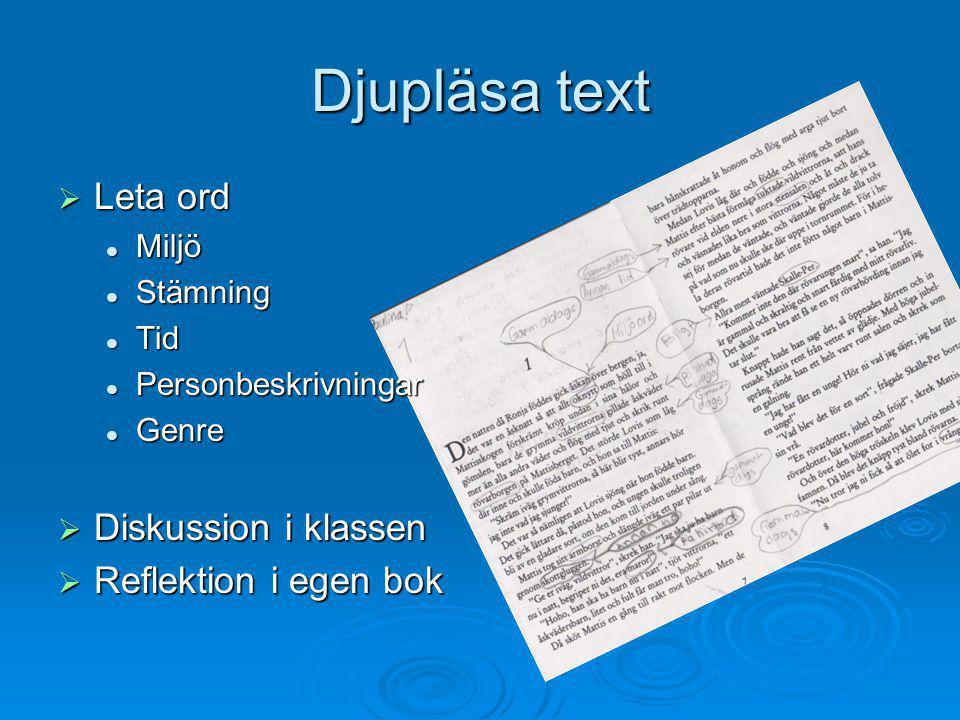 Djupläsa text Leta ord Diskussion i klassen Reflektion i egen bok
