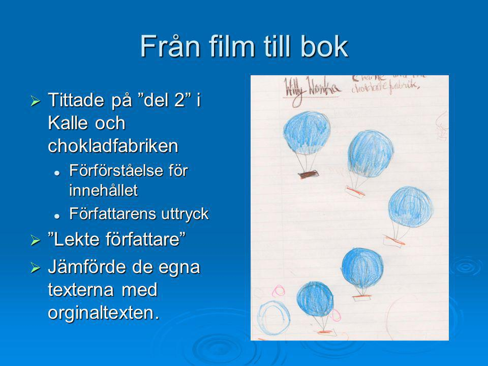 Från film till bok Tittade på del 2 i Kalle och chokladfabriken