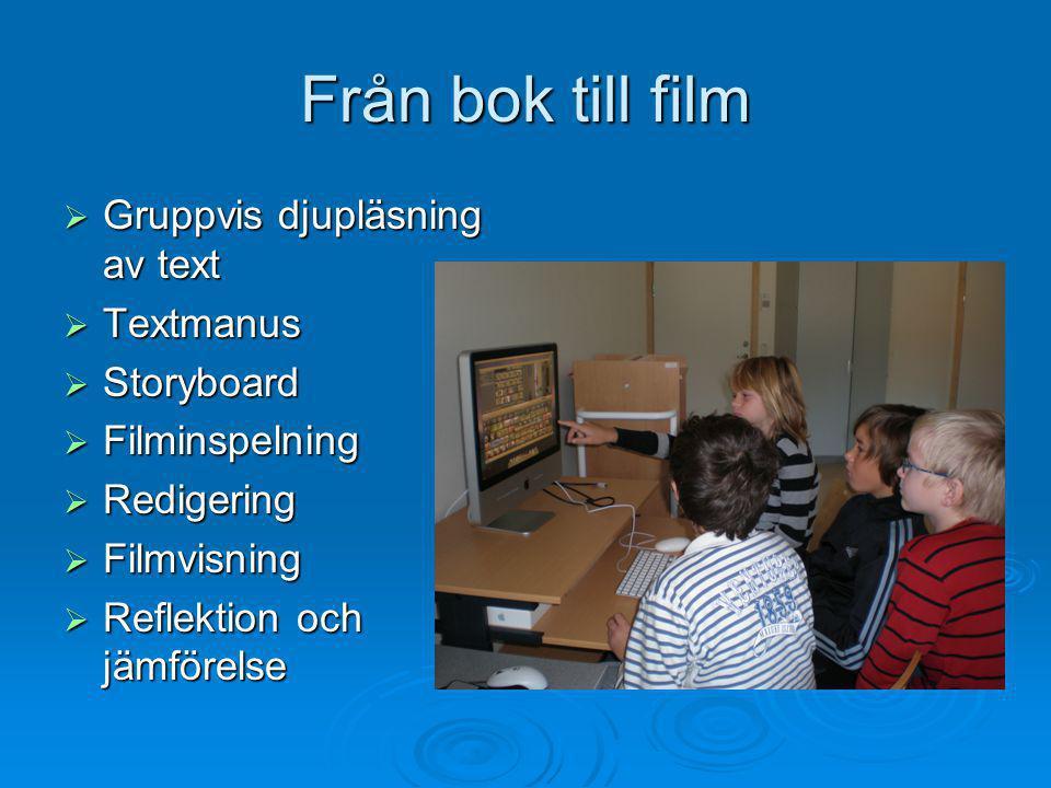 Från bok till film Gruppvis djupläsning av text Textmanus Storyboard