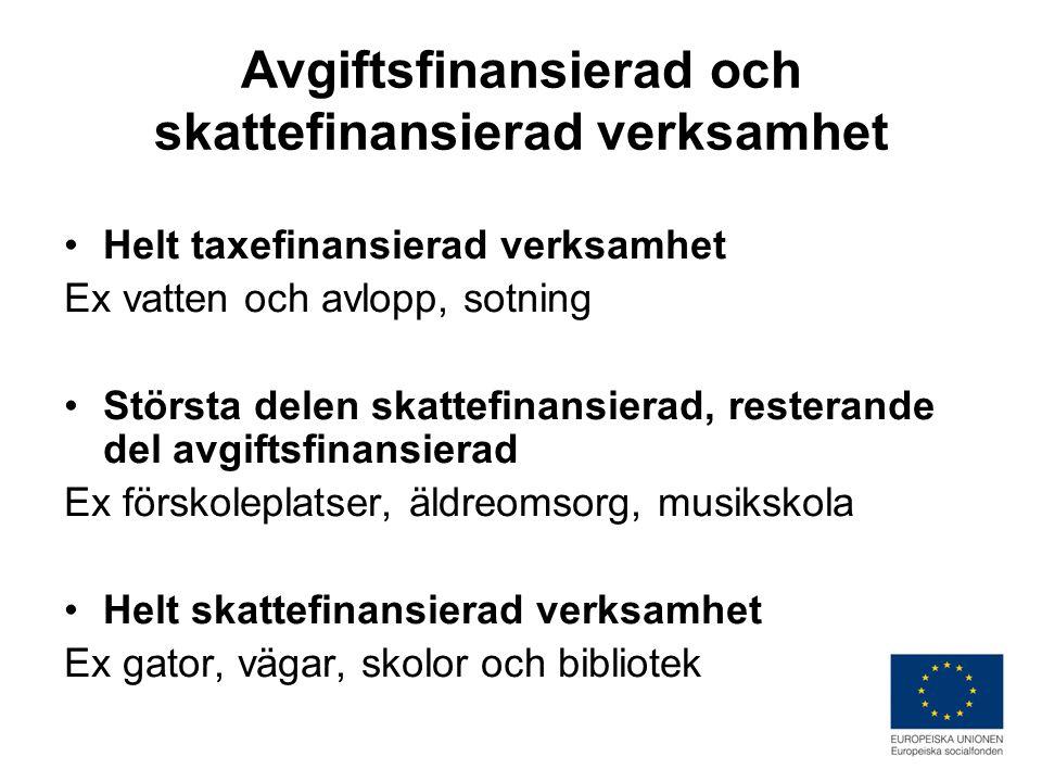 Avgiftsfinansierad och skattefinansierad verksamhet