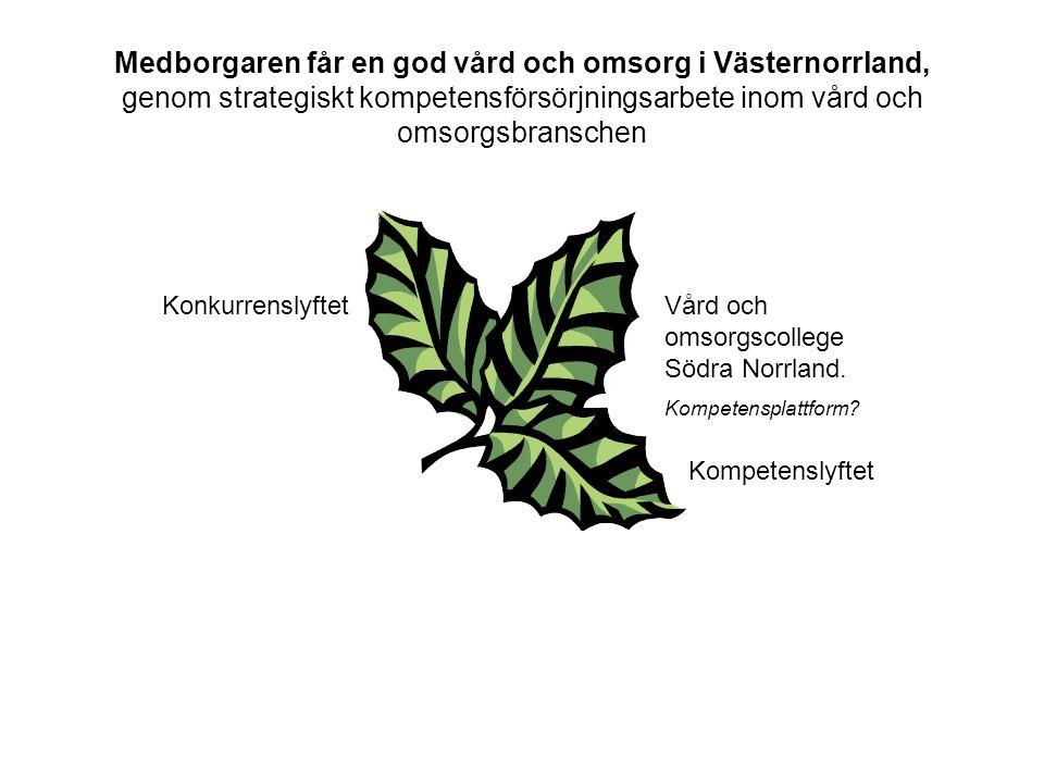 Medborgaren får en god vård och omsorg i Västernorrland, genom strategiskt kompetensförsörjningsarbete inom vård och omsorgsbranschen