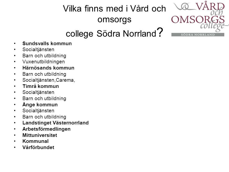 Vilka finns med i Vård och omsorgs college Södra Norrland
