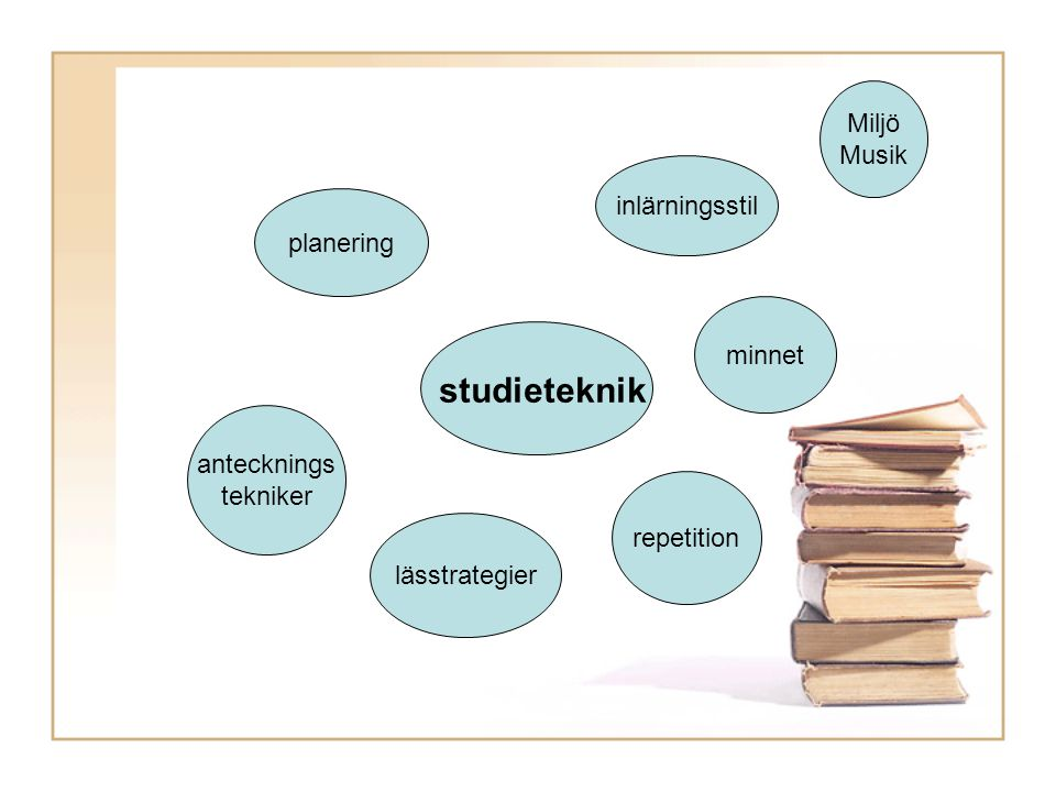 studieteknik Miljö Musik inlärningsstil planering minnet antecknings