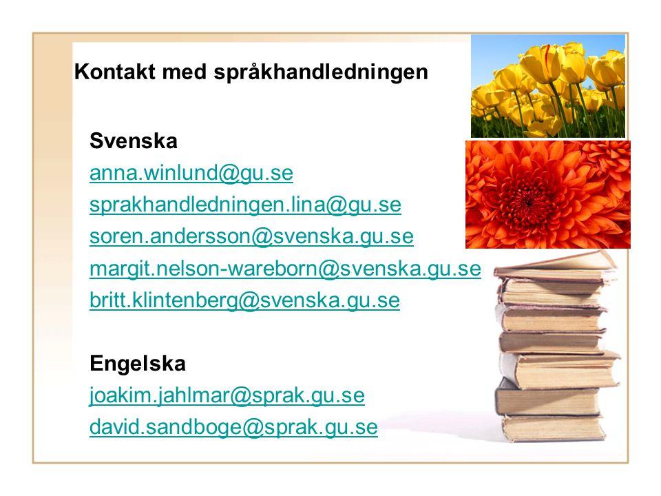 Kontakt med språkhandledningen