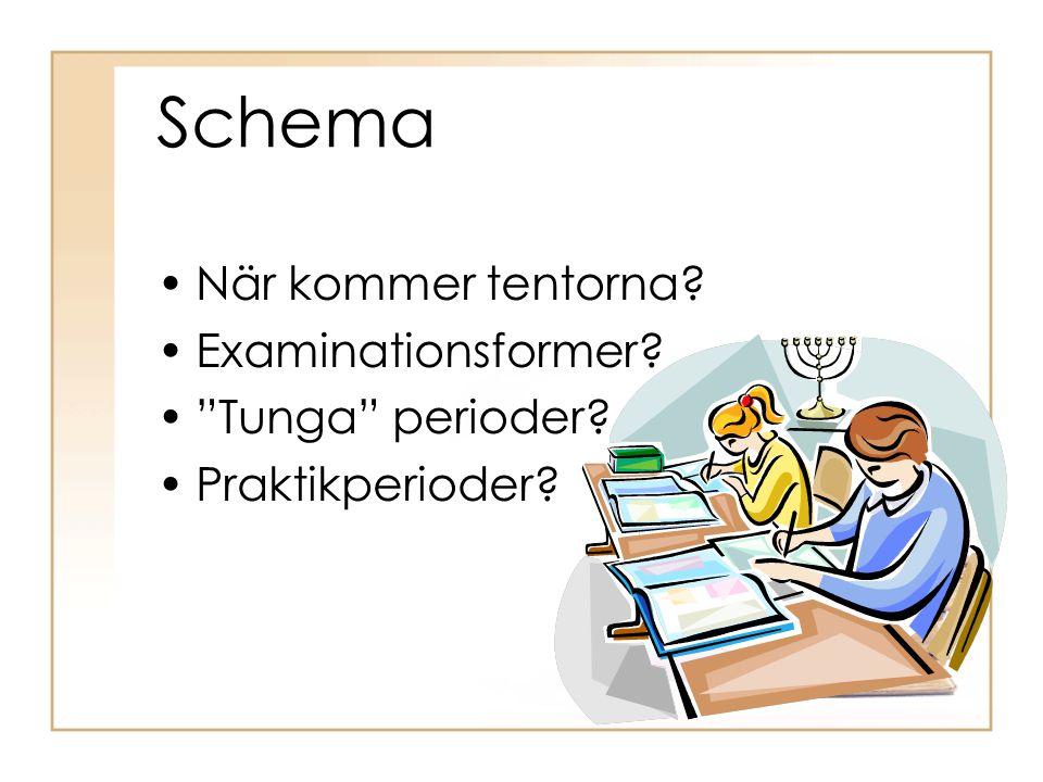 Schema När kommer tentorna Examinationsformer Tunga perioder