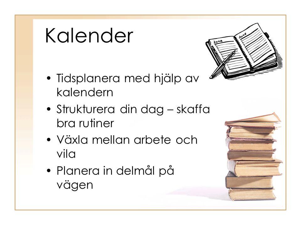 Kalender Tidsplanera med hjälp av kalendern