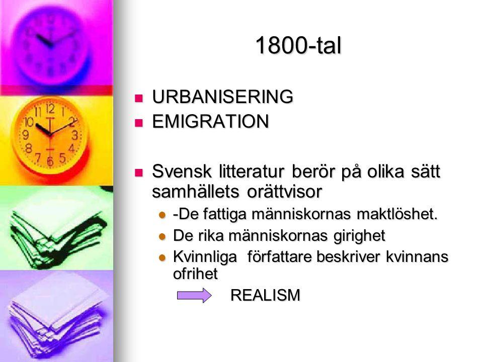 1800-tal URBANISERING EMIGRATION