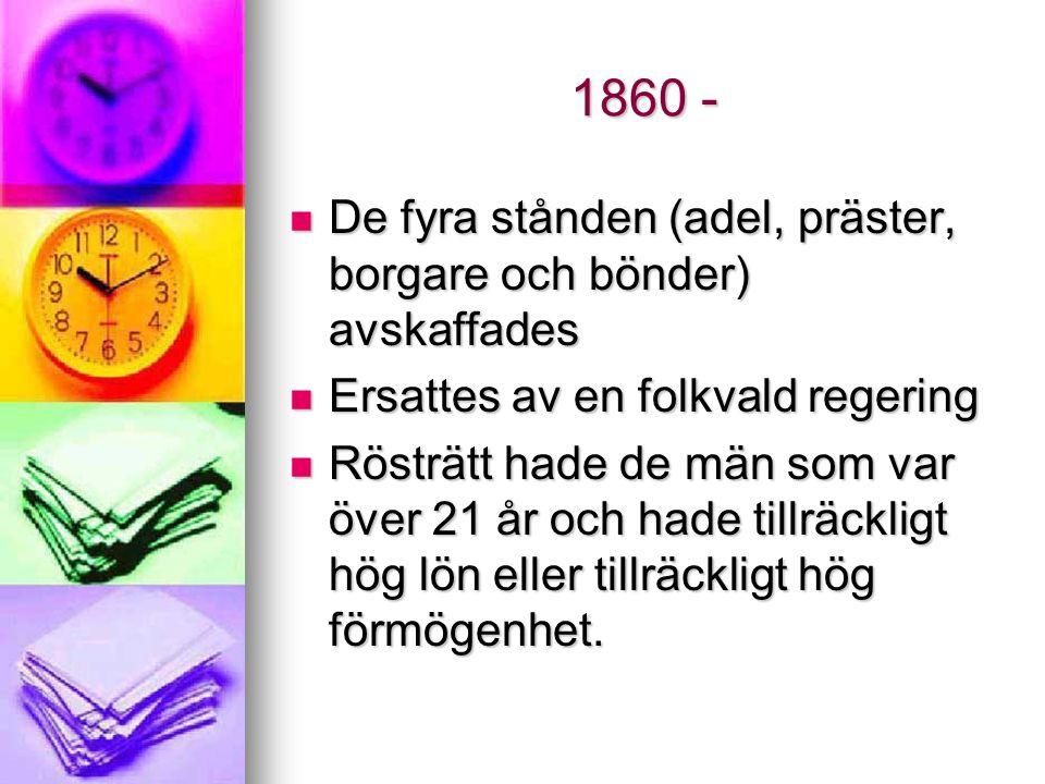 1860 - De fyra stånden (adel, präster, borgare och bönder) avskaffades