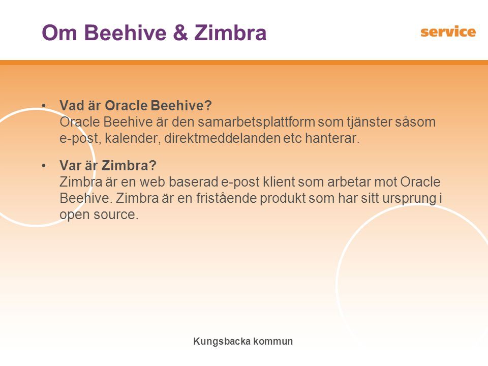 Om Beehive & Zimbra