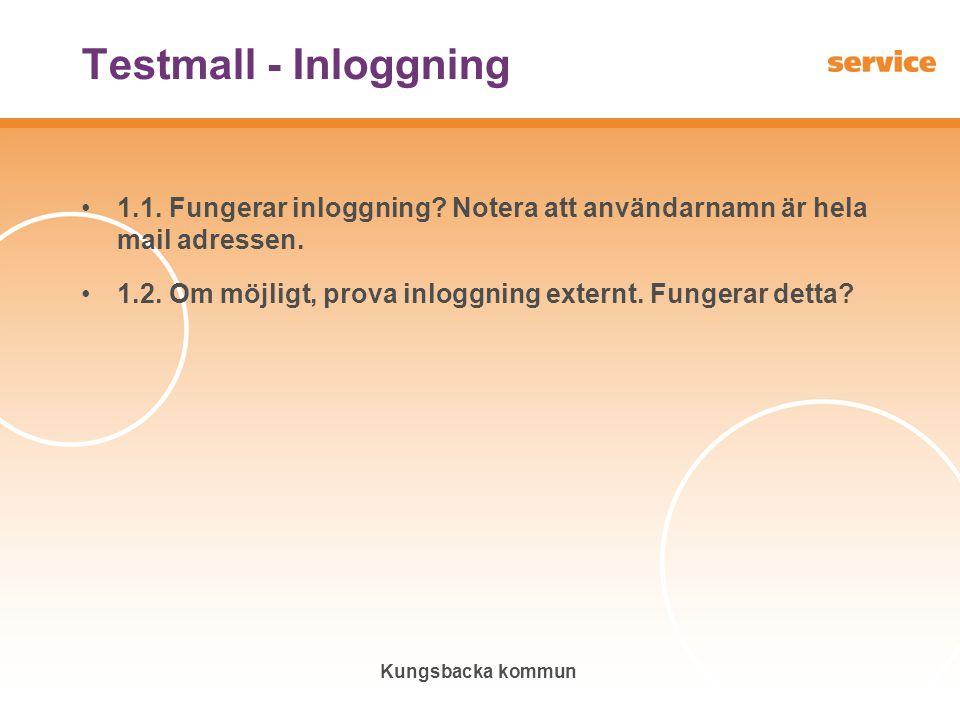 Testmall - Inloggning 1.1. Fungerar inloggning Notera att användarnamn är hela mail adressen.