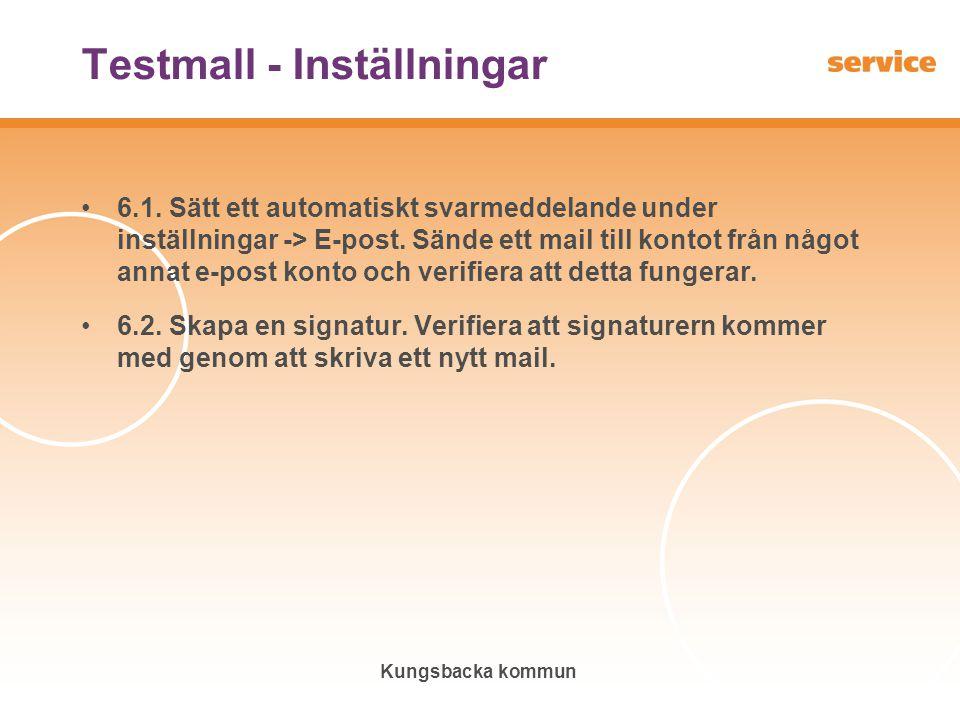 Testmall - Inställningar
