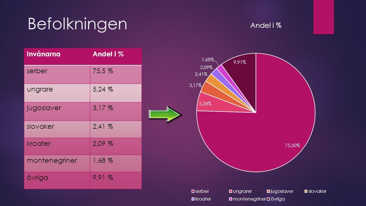 Befolkningen Invånarna Andel i % serber 75,5 % ungrare 5,24 %