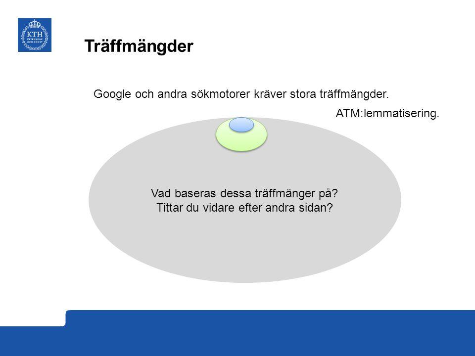 Träffmängder Google och andra sökmotorer kräver stora träffmängder.