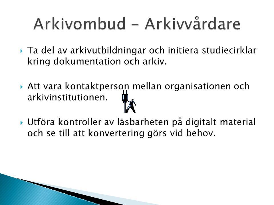 Arkivombud - Arkivvårdare