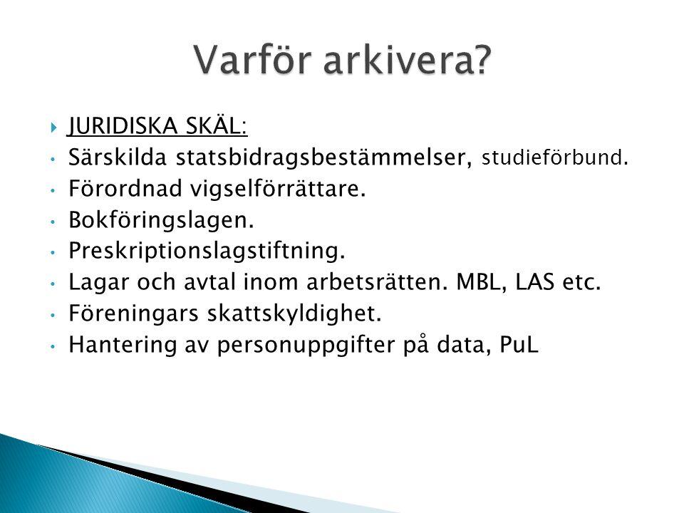 Varför arkivera JURIDISKA SKÄL: