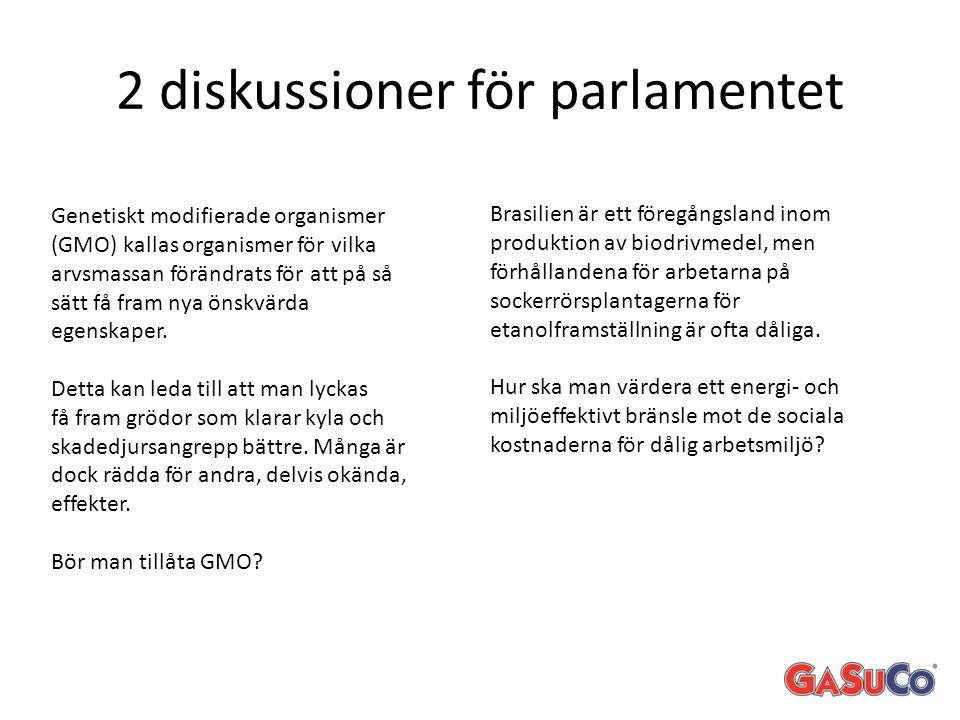 2 diskussioner för parlamentet