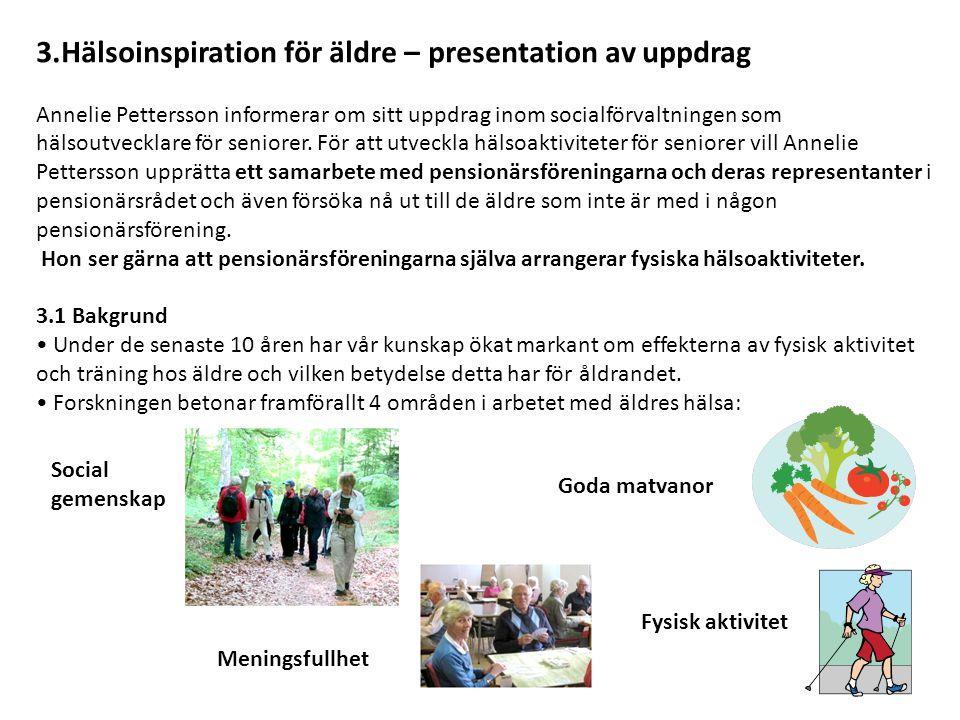3.Hälsoinspiration för äldre – presentation av uppdrag