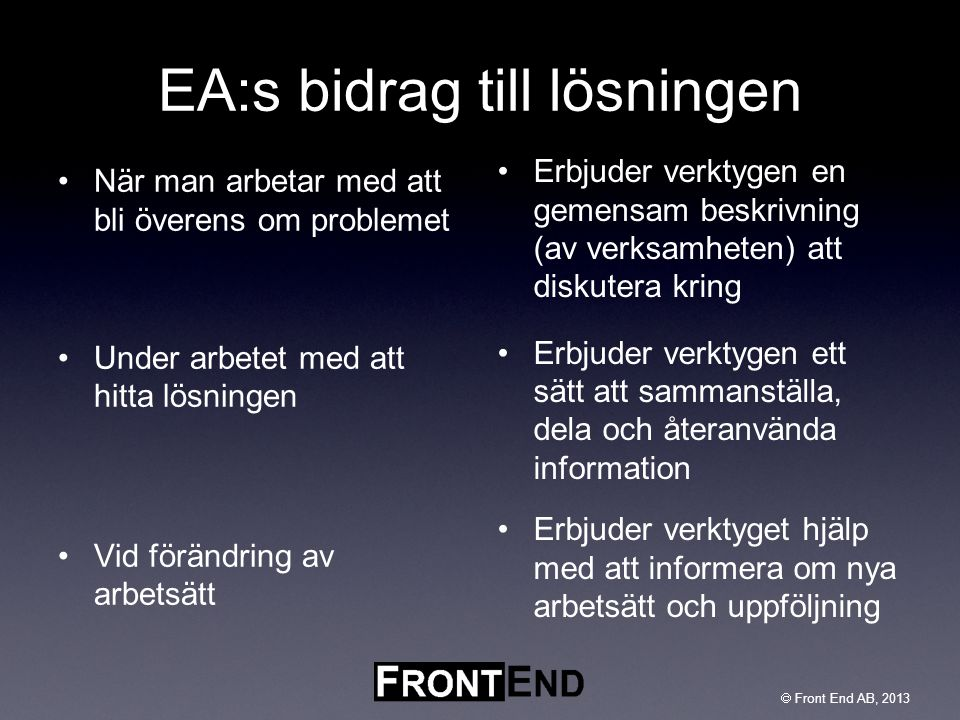 EA:s bidrag till lösningen