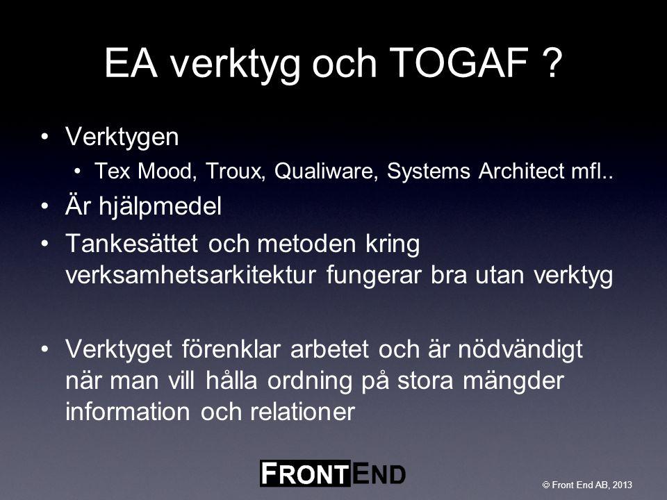 EA verktyg och TOGAF Verktygen Är hjälpmedel