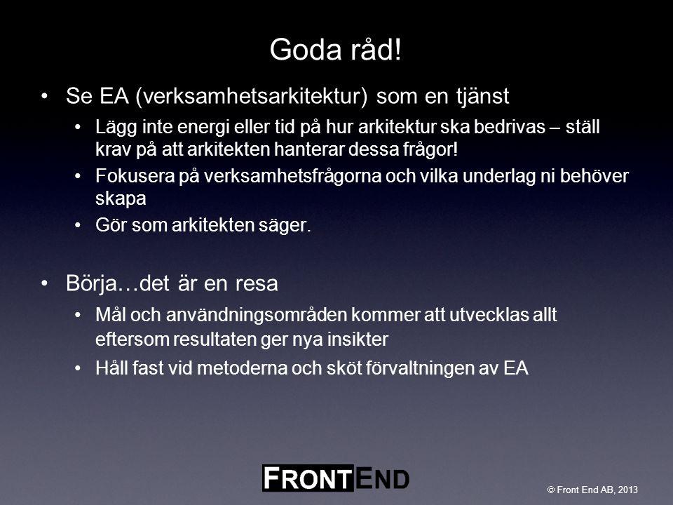 Goda råd! Se EA (verksamhetsarkitektur) som en tjänst