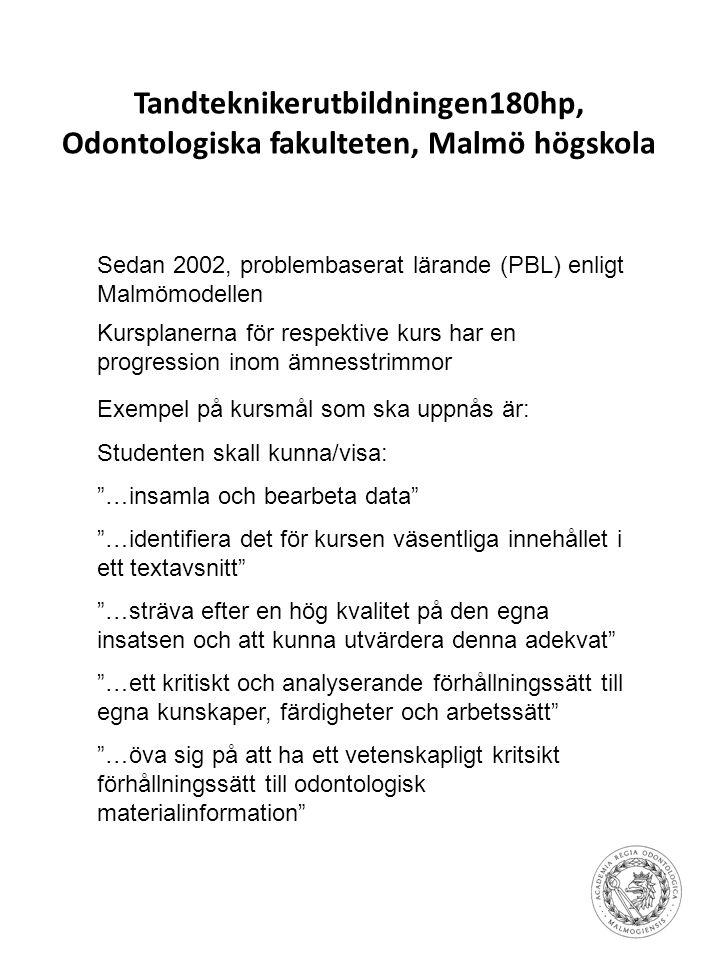 Tandteknikerutbildningen180hp, Odontologiska fakulteten, Malmö högskola