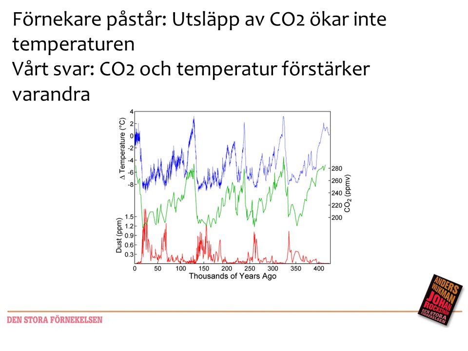 Förnekare påstår: Utsläpp av CO2 ökar inte temperaturen Vårt svar: CO2 och temperatur förstärker varandra