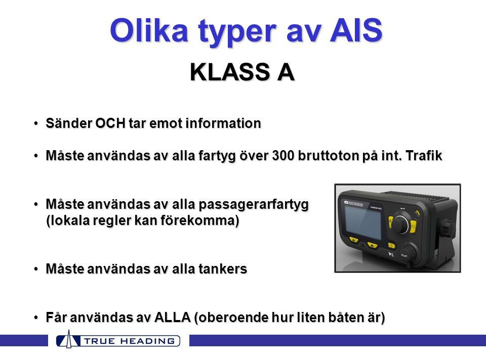 Olika typer av AIS KLASS A Sänder OCH tar emot information