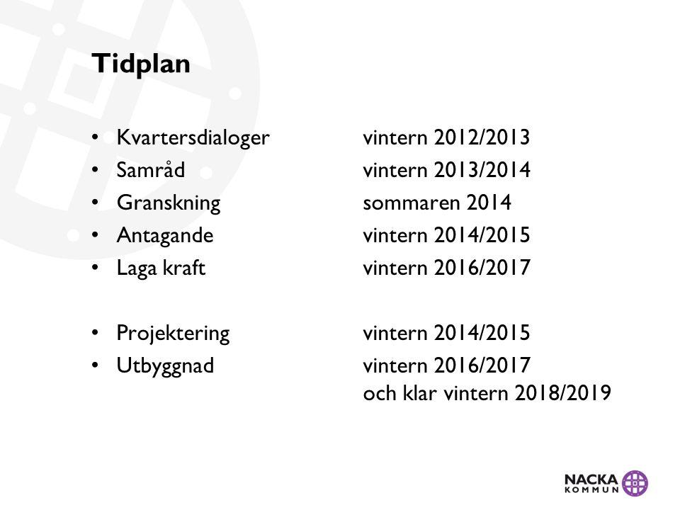 Tidplan Kvartersdialoger vintern 2012/2013 Samråd vintern 2013/2014
