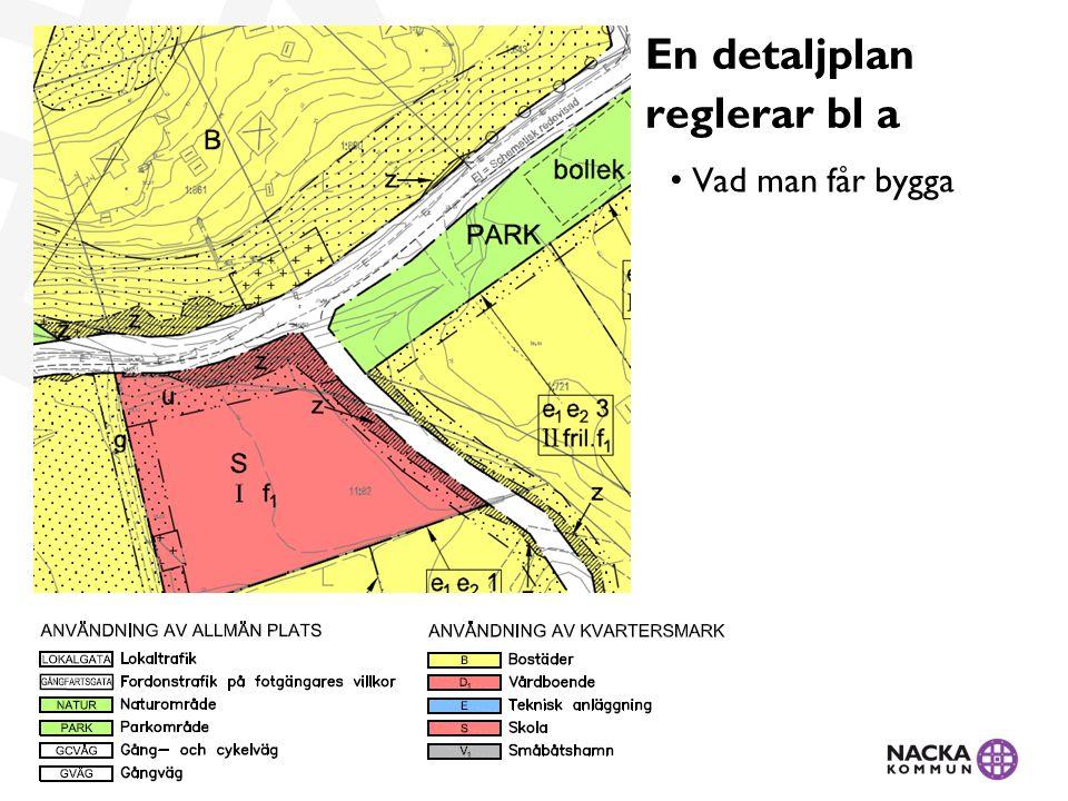 En detaljplan reglerar bl a